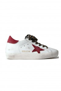 Superstar Sneaker White Burgundy and Leo