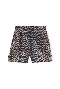 Leopard Cotton and Silk Shorts