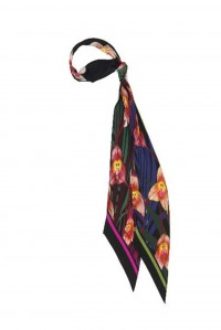 Monkey Orchid Classic Skinny Black Scarf