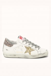Sneaker Superstar White Gold Star leopard