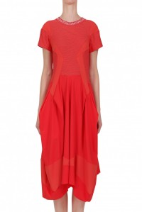 Priase Textured Jersey Dress Red