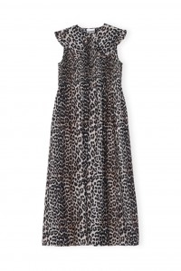 Leopard Cotton and Silk Smock Dress