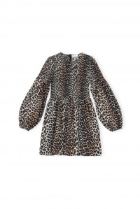 Leopard Cotton and Silk Mini Smock Dress