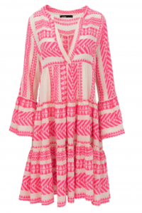 Bell Sleeve Beach Dress Neon