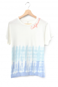 Embroidered California Tee Blue Tie Dye