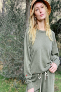 The College Sweatshirt Tossed Floral Army