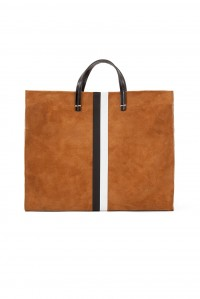Simple Tote Camel Suede with Stripe