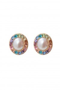 Rainbow and Pearl Stud Earrings