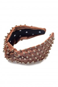 Velvet Embellished Headband Chocolate