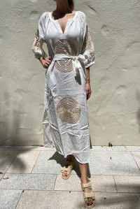 Long Dress with Circle Embroidery