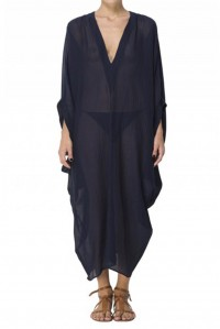Batwing Sleeve Long Kaftan Navy