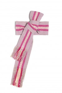 Hand woven wide light pink and magenta belt