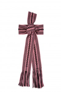 Hand Woven Belt Wide Rose Pink and Black