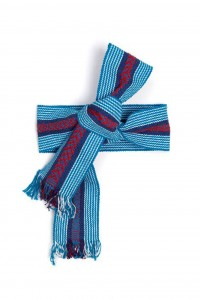 Hand woven wide blue white purple and red belt