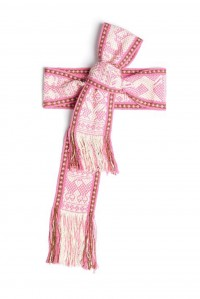 Hand woven wide pink and white belt