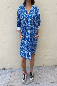 Billie Dress Cobalt Bird