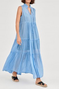 Sleeveless Silk Cotton Long Dress