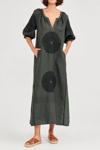 Long Dress with Circle Embroidery Khaki