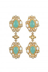 Carlotta Earrings Green and White