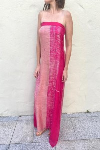 Strapless Silk Dress Pink