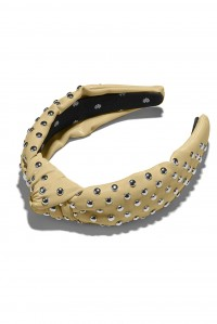 Faux Leather Studded Headband Ivory