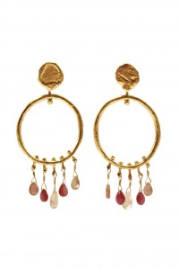 Gold Mini Bloom Hoop and Gem Earrings