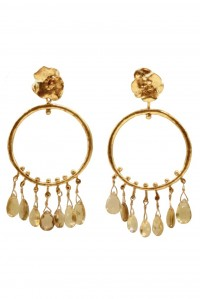 Flower and Citrine Hoops