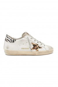 Sneakers Superstar White Leather Leopard Star