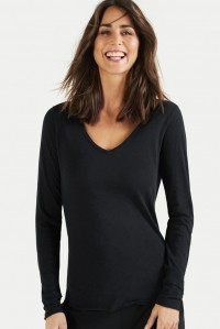 Cotton Slub V Neck Long Sleeve Tee