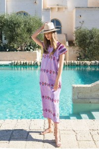 Single Panel Kaftan in lilac and multi colour people design