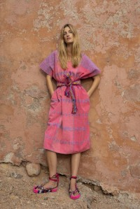 Three Panel Midi Kaftan in pink and blue design