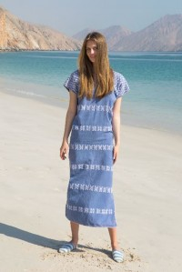 Single panel midi kaftan in denim and white design