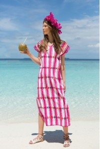 Single panel midi kaftan in pink and white stripe design