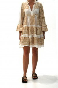 Short Sleeve Embroidered Dress Gold