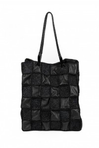Honu Mix Raffia Bag Black