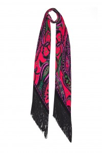 Prickly Paisley Classic Skinny Fringed Scarf