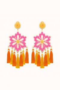 Rose and Golden Hibiscus Earrings