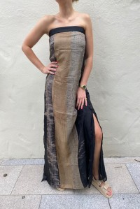 Strapless Silk Dress Black Gold