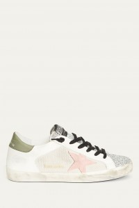 Superstar White Glitter Pink and Khaki