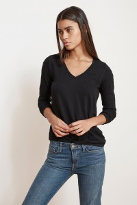 Velvet Originals Blaire V Neck Long Sleeve Tee