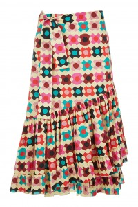 Cotton Poplin Wrap Skirt Groovy Dot