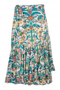 Cotton Poplin Wrap Skirt Tree of Life